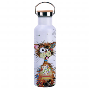 Bouteille isotherme avec anse 590ml - Chat crazy