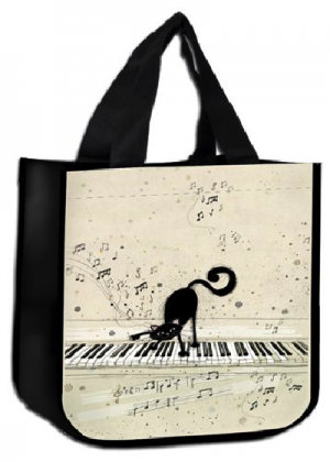 Sac cabas courses Chat pianiste