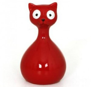 Statuette chat rouge